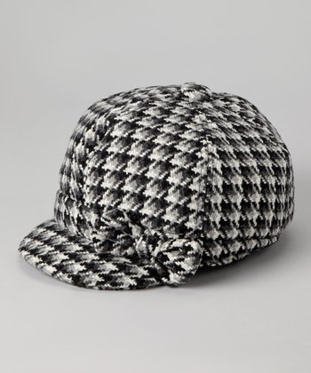 Black Plaid Newsboy Cap