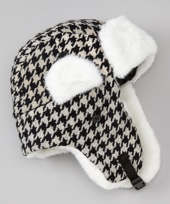 Black & Gray Houndstooth Trapper Hat