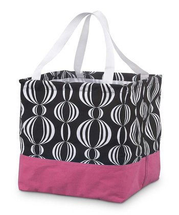 Black & Pink Pearly Girly Square Crunch Shopper