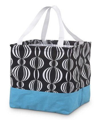 Black & Turquoise Girly Pearly Square Crunch Shopper