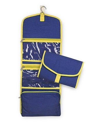Navy & Yellow Color Block Accessory Travel Bag