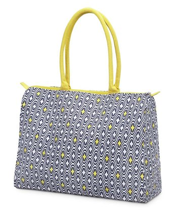 Navy & Yellow Curve Appeal Beach Tote