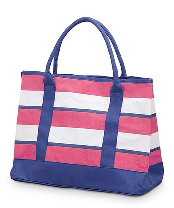 Pink & Navy Chesapeake Medium Boat Bag