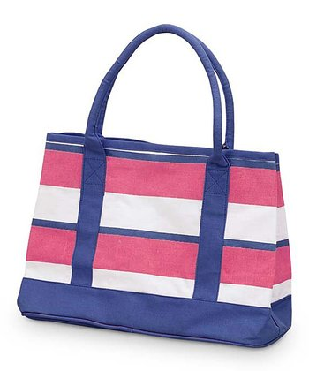 Pink & Navy Chesapeake Small Boat Bag