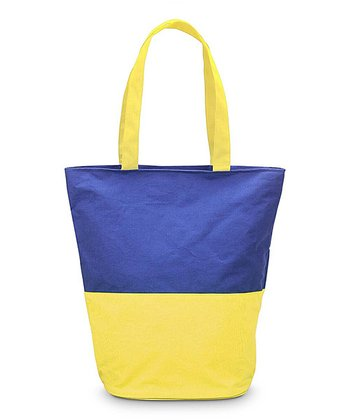 Navy & Yellow Color Block Boat Tote