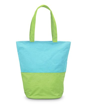 Turquoise & Green Color Block Boat Tote