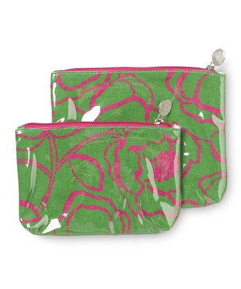Pink & Green Camelot Cosmetic Bag Set