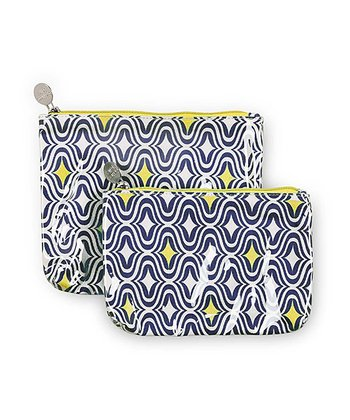Navy & Yellow Curve Appeal Cosmetic Bag Set