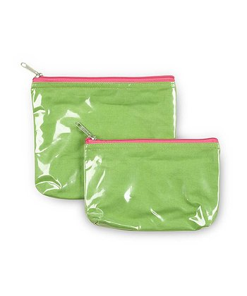 Green & Pink Color Block Cosmetic Bag Set