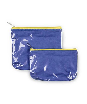 Navy & Yellow Color Block Cosmetic Bag Set