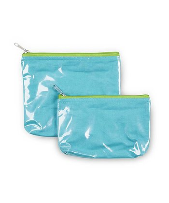 Turquoise & Green Color Block Cosmetic Bag Set