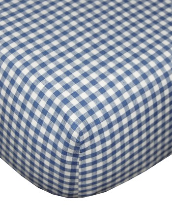 Navy Gingham Fitted Crib Sheet - Set of Two