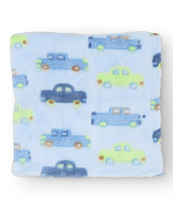 Blue Car Jacquard Microfleece Stroller Blanket