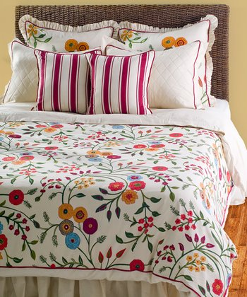 Red & White Country Blossom Queen Duvet Set