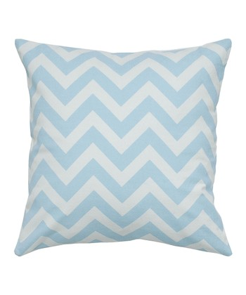 Light Blue & White Zigzag Throw Pillow