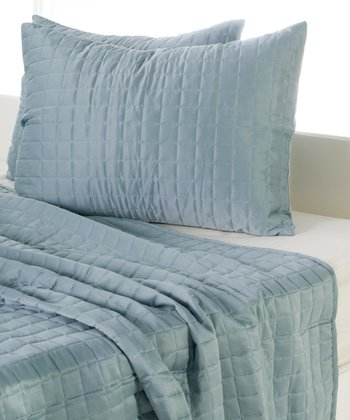 Spa Blue Quilted Reversible Comforter Set