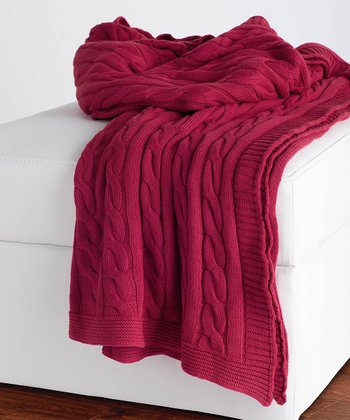 Red Cable-Knit Throw Blanket