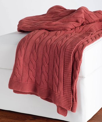 Paprika Cable-Knit Throw