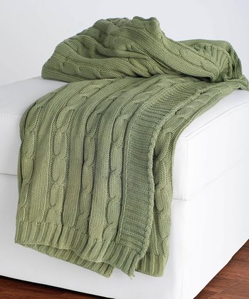 Olive Cable-Knit Throw Blanket