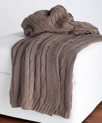 Mocha Cable-Knit Throw Blanket