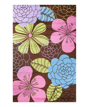 Brown Lotus Garden Rug