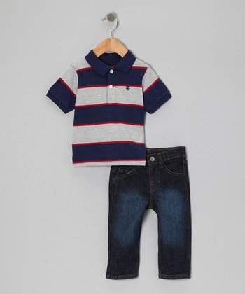 Gray & Navy Stripe Polo & Jeans - Infant