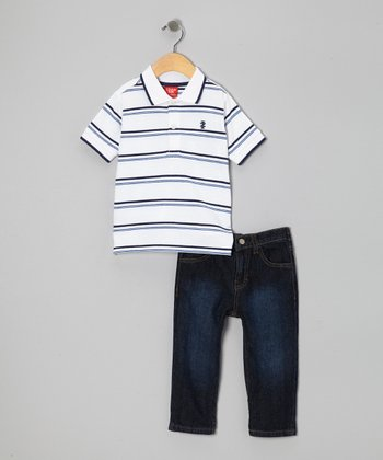 Navy & White Stripe Polo & Jeans - Infant