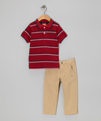 Red Stripe Polo & Khaki Pants - Infant