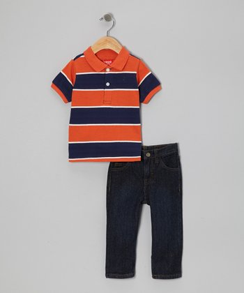 Orange & Navy Stripe Polo & Jeans - Infant