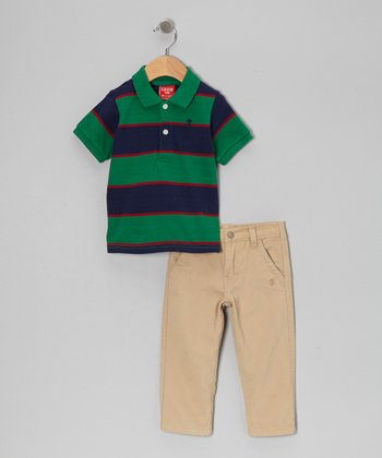 Green & Navy Polo & Khaki Pants - Infant