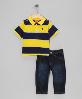 Yellow & Navy Stripe Polo & Jeans - Infant