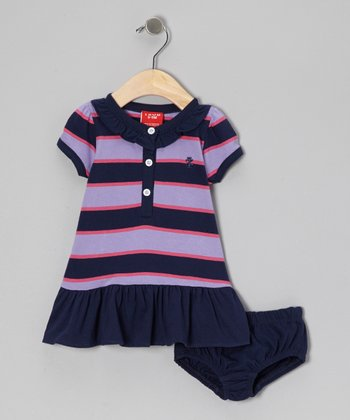 Navy & Lilac Stripe Polo Dress & Diaper Cover - Infant