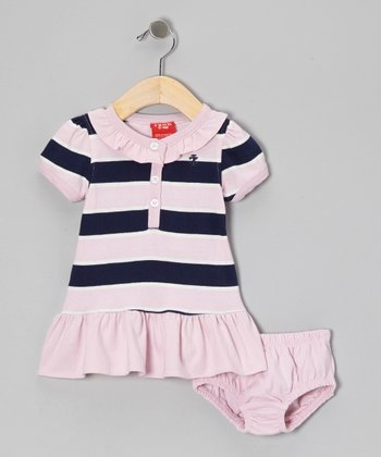Pink & Navy Stripe Polo Dress & Diaper Cover - Infant