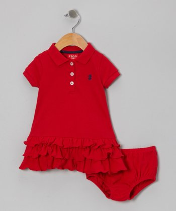 Red Ruffle Piqué Dress & Diaper Cover - Infant