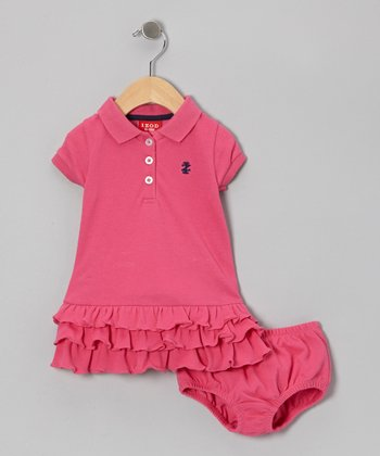 Fuchsia Ruffle Piqué Dress & Diaper Cover - Infant
