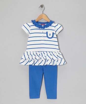 Royal Blue Stripe Ruffle Tunic & Leggings - Toddler