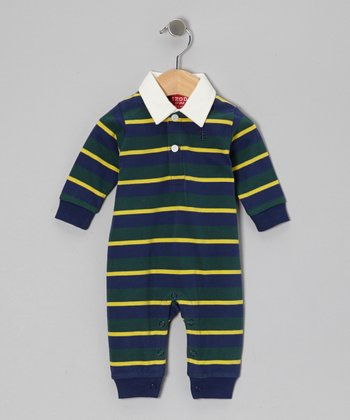Green Stripe Polo Playsuit - Infant