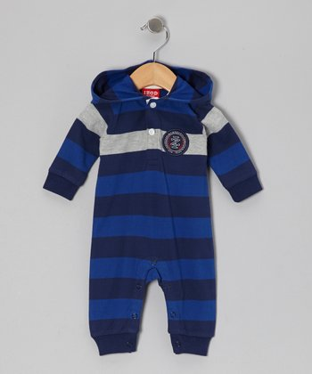 Blue Stripe Hooded Playsuit - Infant