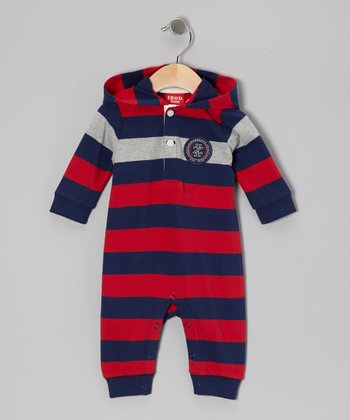 Red Stripe Hooded Playsuit - Infant