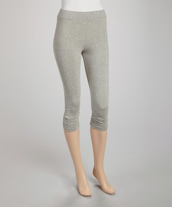 Gray Shirred Capri Leggings