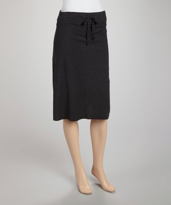 Black Drawstring A-Line Skirt