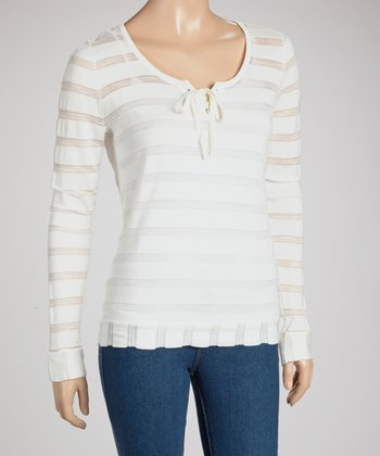 White Stripe Long-Sleeve Scoop Neck Lace-Up Top