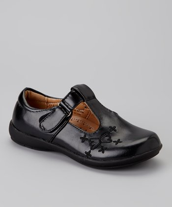 Black Butterfly T-Strap Shoe