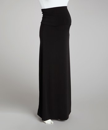 Black Over-Belly Maternity Skirt