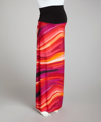 Fuchsia & Purple Abstract Over-Belly Maternity Skirt