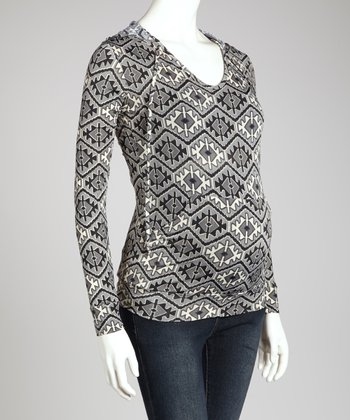 Gray & Black Tribal Maternity Hoodie