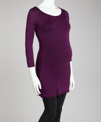 Purple Maternity Three-Quarter Sleeve Top