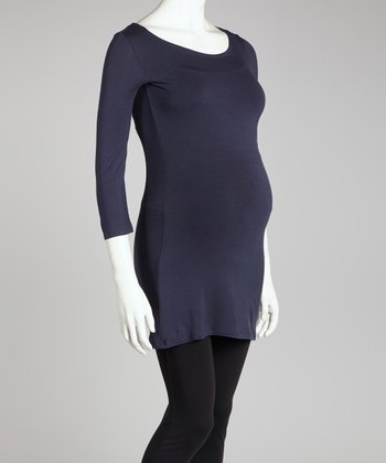 Navy Maternity Three-Quarter Sleeve Top