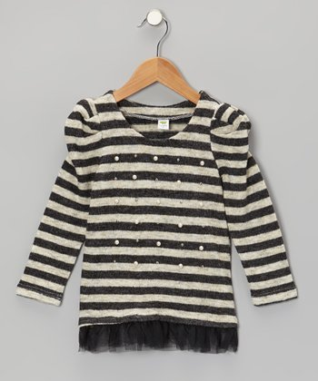 Black Stripe Pearl Tunic - Girls