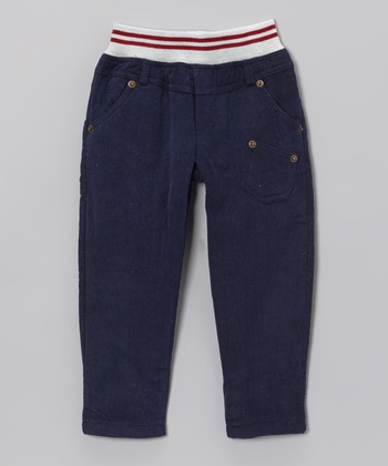 Navy Stripe-Waistband Pants - Boys